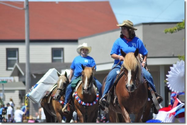 Redwood Unit members riding in the 2009 Fortuna Rodeo Parade.